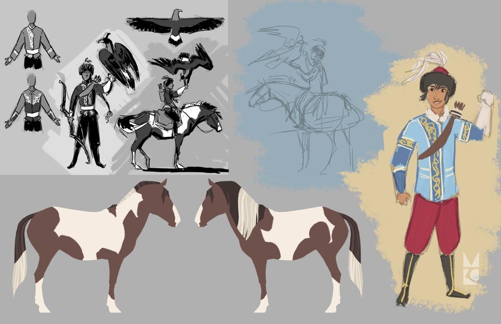 Kyrgyz huntress | development
